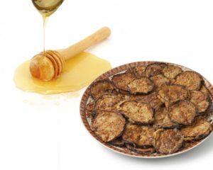 Berenjenas empanadas con miel